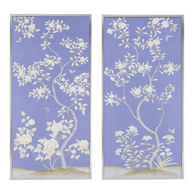 """Jardins en Fleur """"Inverness"""" Chinoiserie Hand-Painted Silk Diptych by Simon Paul Scott in Burnished Silver Frame - a Pair For Sale"""