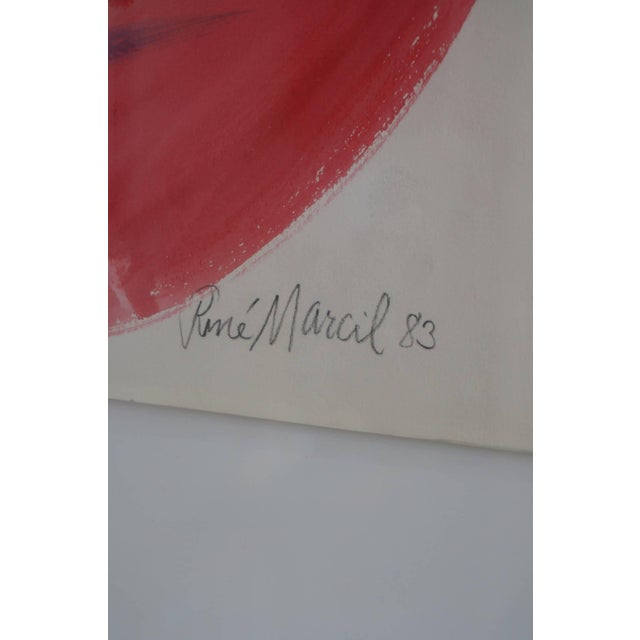 Modern Gouache on Paper: Rene Marcil 1983 For Sale - Image 3 of 3