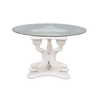1950's Neoclassical Italian Plaster Dolphin Koi Fish Garden Table For Sale