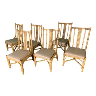 Bentwood Rattan Dining Chairs - Set of 6 For Sale