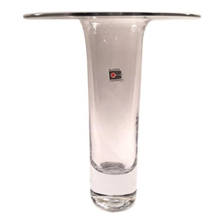 Don Shepherd Blenko Collar Flat Top in Clear Glass Vase For Sale