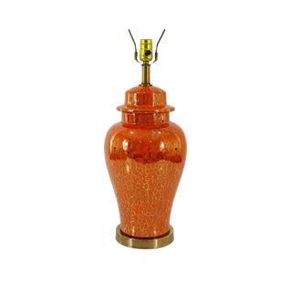 Mid-Century Fire Glaze Ginger Jar Lamp For Sale