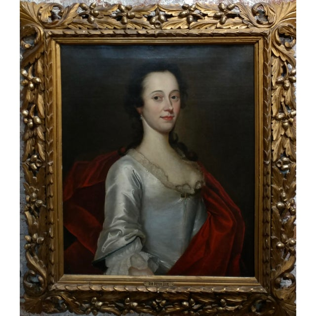 18th century Portrait of an English Aristocratic Woman -Oil painting oil painting on canvas - unsigned circa 1760s frame...