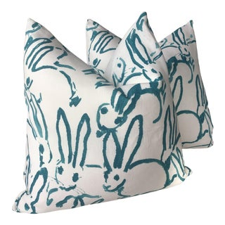 """Hunt Slonen """"Bunny Hutch"""" in Aqua 22"""" Down Filled Pillows - a Pair For Sale"""