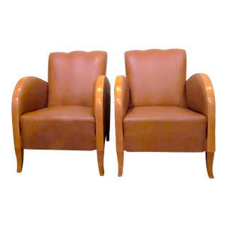 1930s Vintage Art Deco Caramel Naugahyde and Curved Blonde Wood Rounded Club Chairs- A Pair For Sale