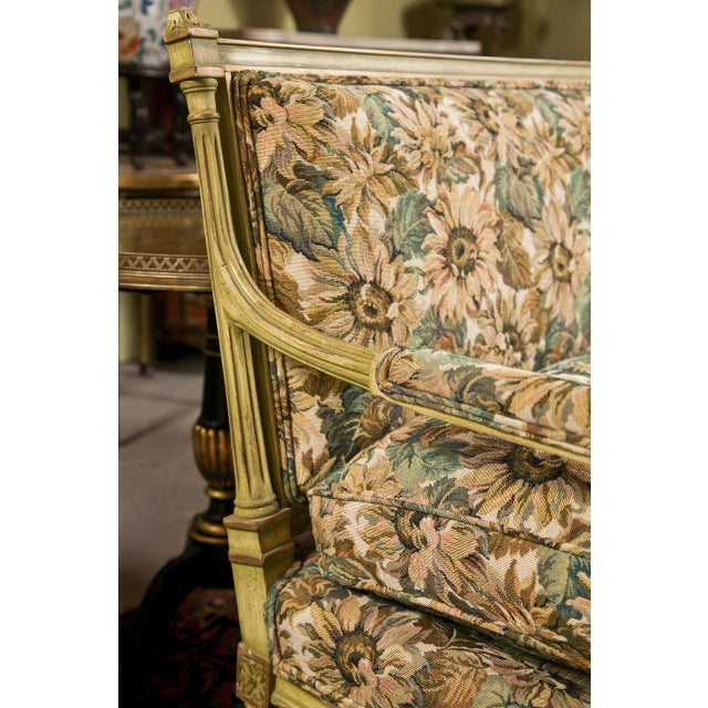 French French Louis XVI Style Painted Settee by Jansen For Sale - Image 3 of 7