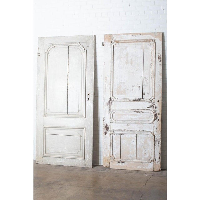 Rustic Rustic Pair of 19th Century French Painted Panel Doors For Sale - Image 3 of 13
