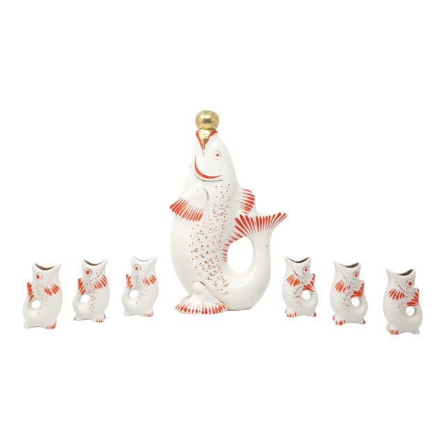 Vintage Porcelain Hand Painted Koi Fish Sake Decanter and Cups - Signed and Numbered - Set of 7 For Sale