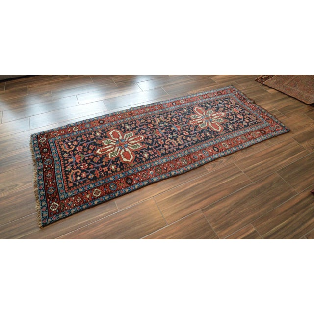 Antique Persian Heriz Karajeh Runner- 3′6″ × 8′10″ - Image 4 of 11