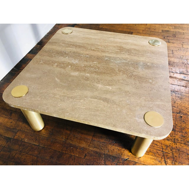 1970s 1970s Mid-Century Modern Karl Springer Travertine & Brass Coffee Table For Sale - Image 5 of 7