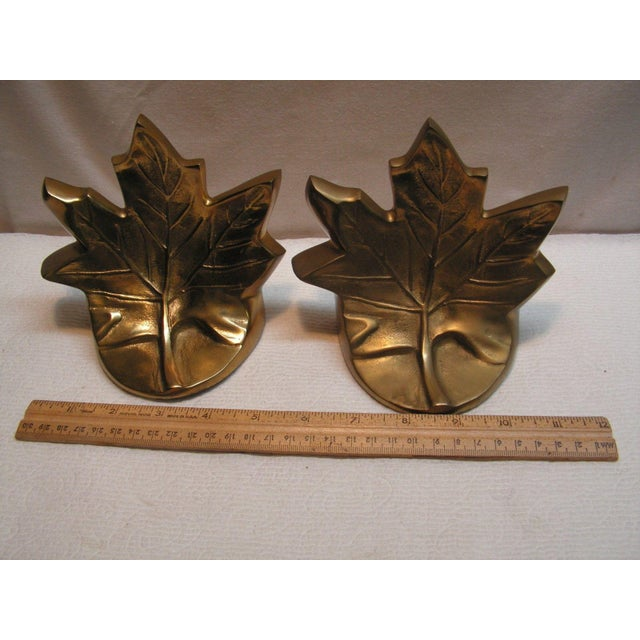 Vintage Brass Maple Leaf Bookends - A Pair For Sale - Image 5 of 5