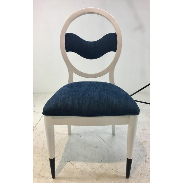 Elegant and Serene, Caracole Modern Prototype Blue and White Wave Dining Chairs Set of Ten, two arms and eight sides,...