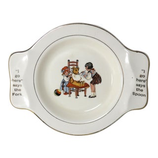 1920s Vintage Teddy Bear Childs Fork & Spoon Bowl For Sale