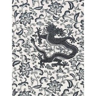 Sample, Scalamandre Chi'En Dragon Linen Print, Charcoal Fabric For Sale