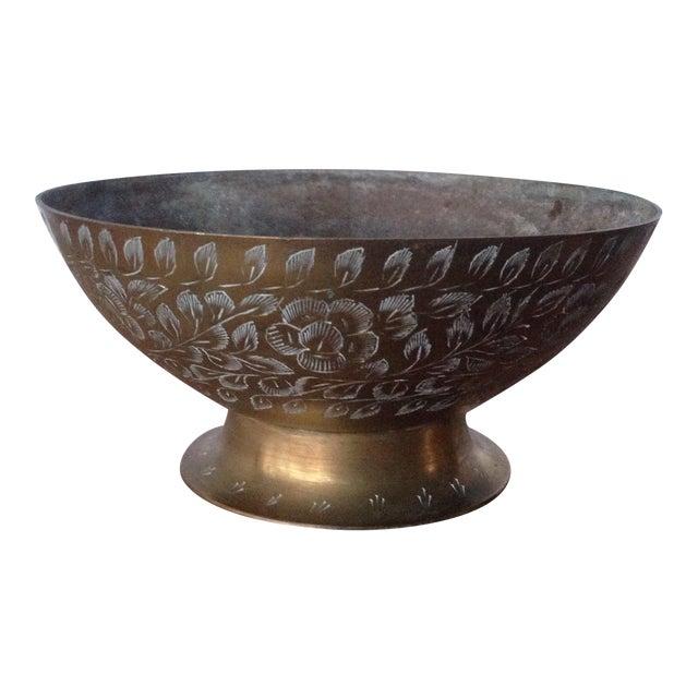 Vintage Etched Brass Bowl - Image 1 of 11