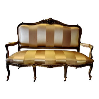 Antique Gold Accent Settee on Wheels For Sale