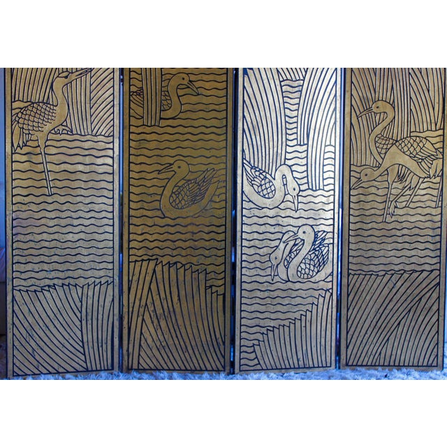 1950s Vintage Donald Deskey Style Art Deco Lacquer and Gilt Chinoiserie Folding Screen Room Divider Heron Reed Motif For Sale - Image 5 of 13