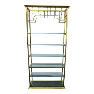 Hollywood Regency Tall Brass Finish Display Cabinet Bookcase For Sale