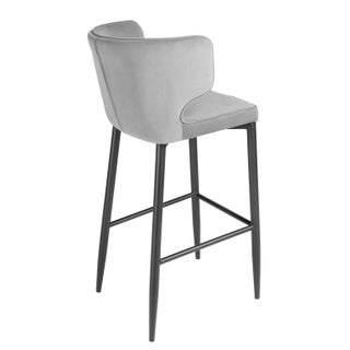 Kayla Upholstered Curved Gray Bar Chair Preview