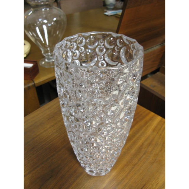 1990s Czech Vase Bubble Thumbprint Bohemia Glass For Sale - Image 9 of 10