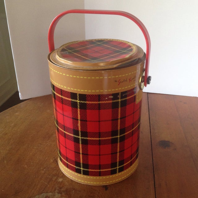 Mid Century Metal Plaid Cooler/Ice Bucket - Image 2 of 11