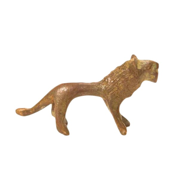 Vintage Bronze Lion Figurine / Ashanti Gold Weight For Sale