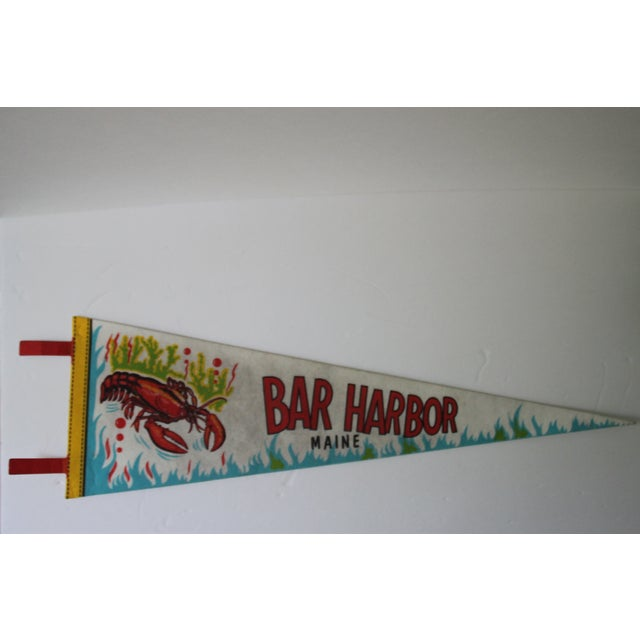 Vintage Bar Harbor, Maine pennant. Pennant has some slight discoloration from age. A great piece to add to your lounge!