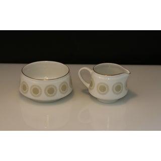Mid Century Modern Arabia of Finland Bellis Pattern Porcelain Open Sugar Bowl & Creamer Set - a Pair Preview