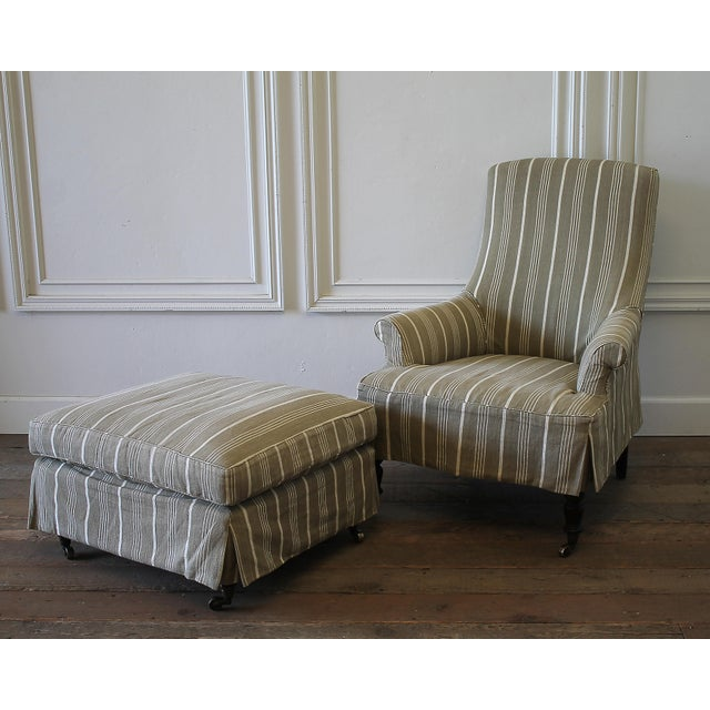 Napoleon Style Linen Stripe Slip Cover Chair and Ottoman For Sale - Image 12 of 12