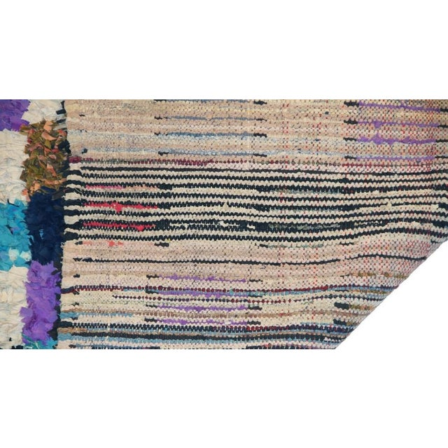 "Boho Chic Vintage Boucherouite Moroccan Carpet - 6' X 4'8"" For Sale - Image 3 of 3"