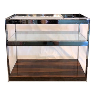 Estate Art Deco Rosewood, Chrome and Glass Drinks Cart, Circa 1940.