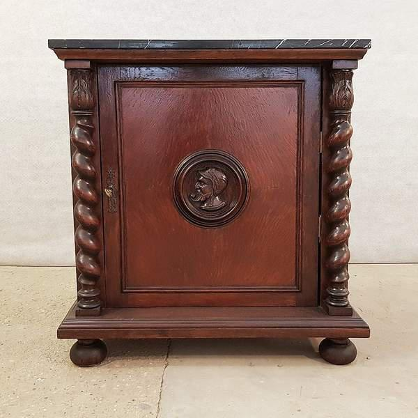 French Louis XIII Style Early 20th C. Confiturier Cabinet Cupboard With Single Door and Marble Top For Sale - Image 13 of 13