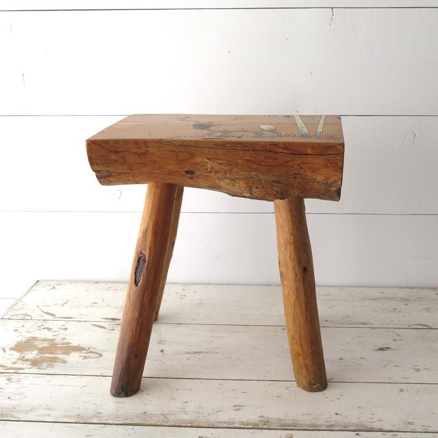 Unique vintage split log side table would be perfect for a vacation home or cabin. The accent table has great vintage...