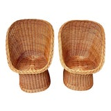 Image of Vintage Boho Chic Wicker Scoop Chairs - a Pair For Sale