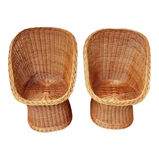 Vintage Boho Chic Wicker Scoop Chairs - a Pair For Sale