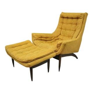 Mid Century Modern Danish Style Kroehler Sculptural Lounge Club Chair & Ottoman For Sale