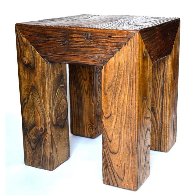 Ron Mann Ron Mann Sand-Blasted Wood Side Table 1980s For Sale - Image 4 of 9