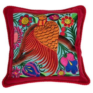 Modern Guatemalan Bird Embroidered Pillow For Sale