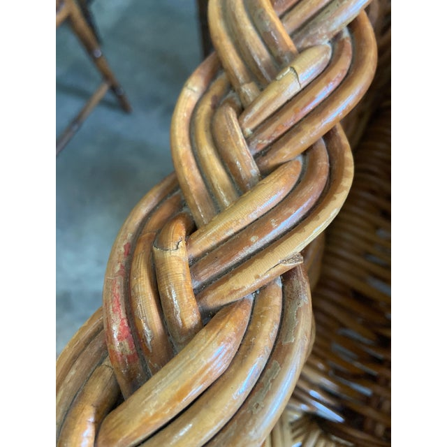 Vintage 1970's Crespi Style Woven Rattan and Bamboo Bar Stools - a Pair For Sale - Image 10 of 13