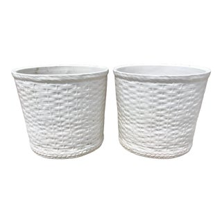 Large Terra Cotta White Planters With Basket Weave Pattern - a Pair For Sale