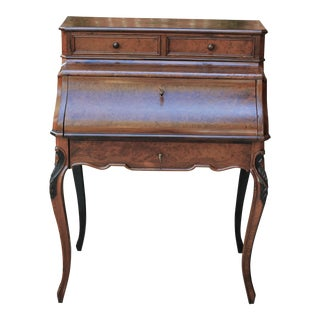 Antique French Birds Eye Maple Fall Front Secretary Desk Bureau For Sale