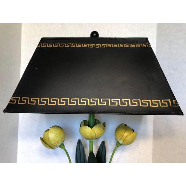 Fabulous vintage yellow Italian tulip lamp with hand painted greek key base and lamp shade. Lamp shade has gold interior...