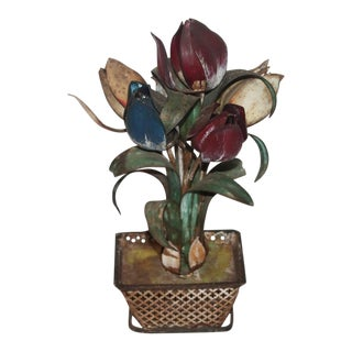Late 19th Century Original Painted Tin Tulips in Basket Planter For Sale