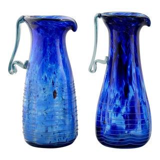 Blue Murano Art Glass Pitchers - A Pair