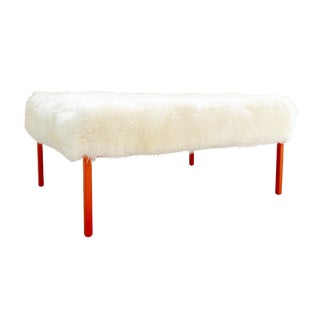The Forsyth Ottoman in Sheepskin For Sale