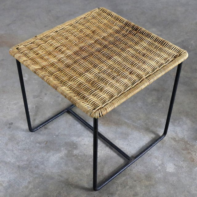 Caif-Asia Style Wrought Iron and Rattan Side Tables - A Pair For Sale - Image 9 of 13