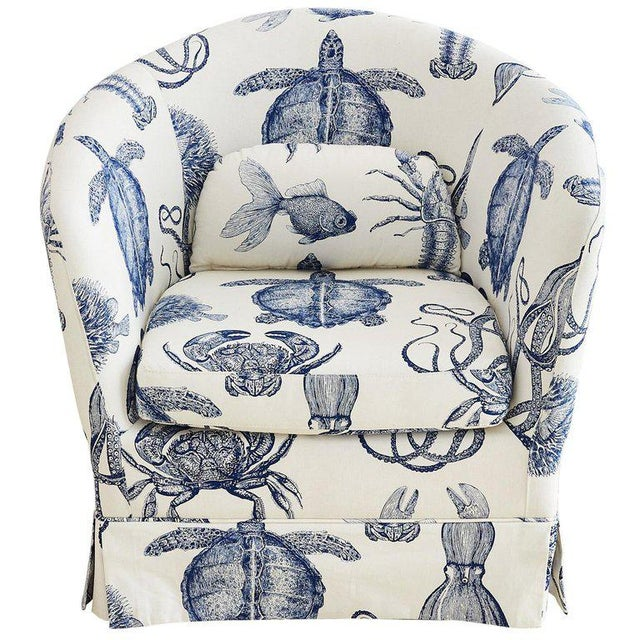 Blue and White Sea Life Nautical Club Chair For Sale - Image 13 of 13