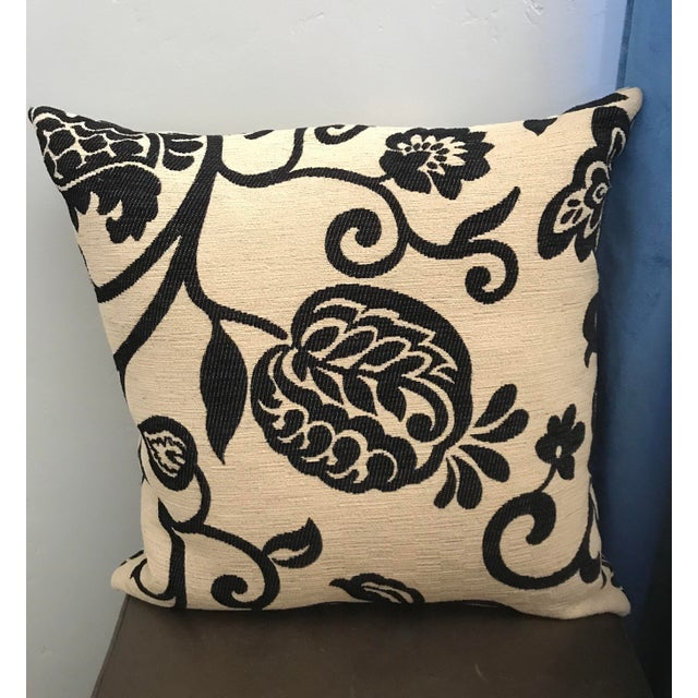 Black and Cream Floral Pillow with Down Insert For Sale - Image 4 of 4