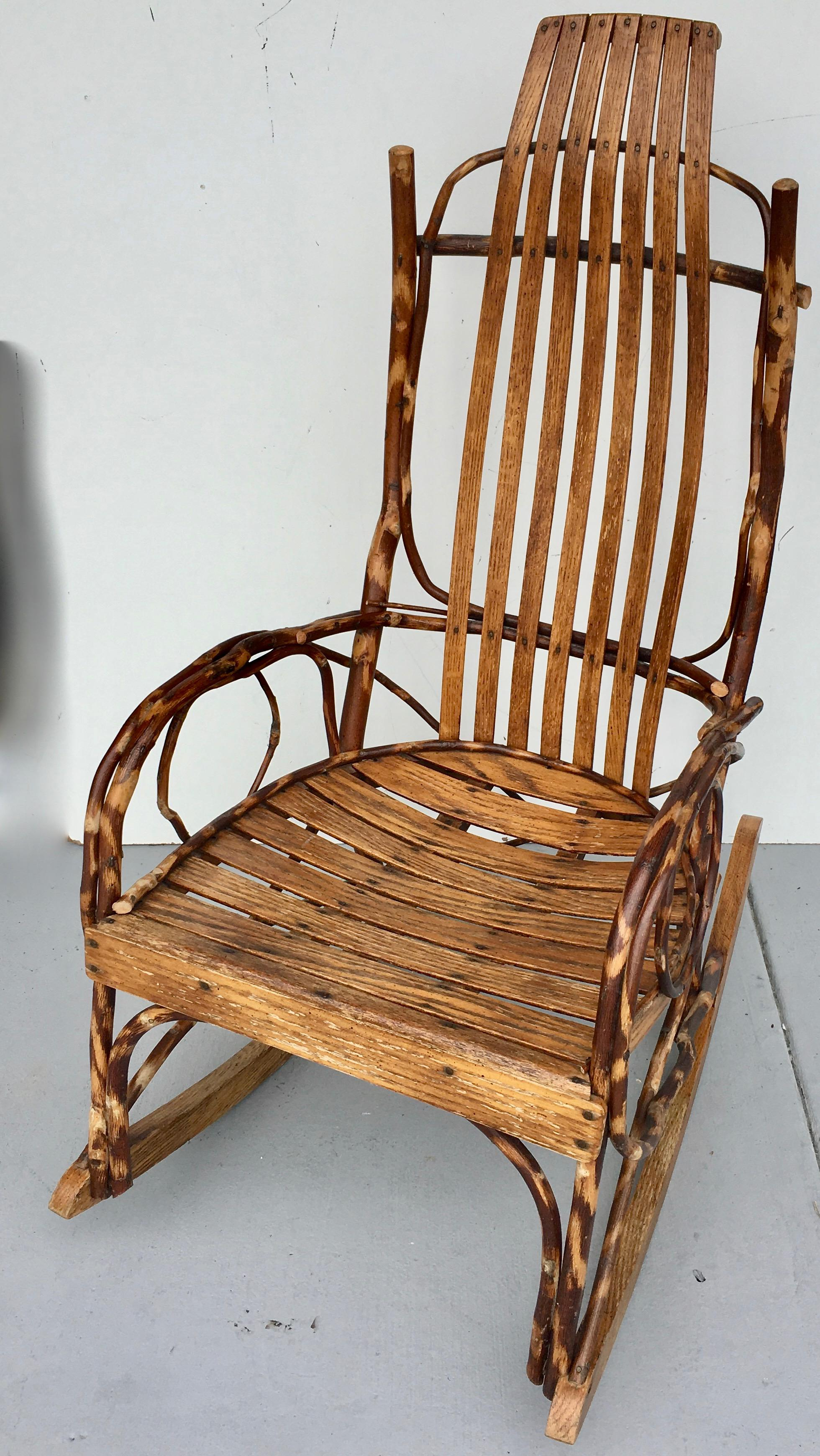 Exceptionnel Country Studio Branch And Wood Rocking Chair For Sale   Image 3 Of 8