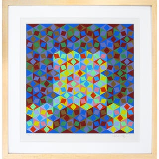 """1980s Geometric Op Art """"Multicolored Lonsanges"""" by Victor Vasarely"""